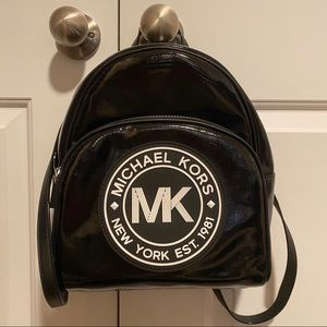 MK Black Patent Leather Backpack Purse
